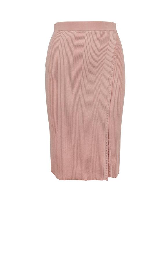 Jonathan Simkhai Cherry Blossom Pink Ribbed Wrap Skirt