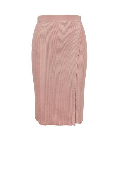 Jonathan Simkhai - Cherry Blossom Pink Ribbed Wrap Skirt