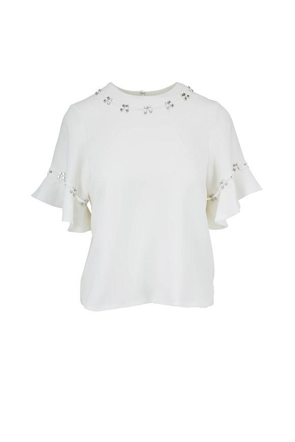 Jonathan Simkhai White Stone Studded Flutter Sleeve Top