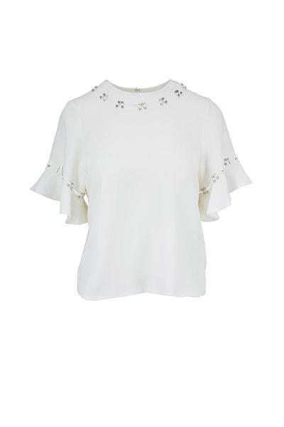 Jonathan Simkhai - White Stone Studded Flutter Sleeve Top