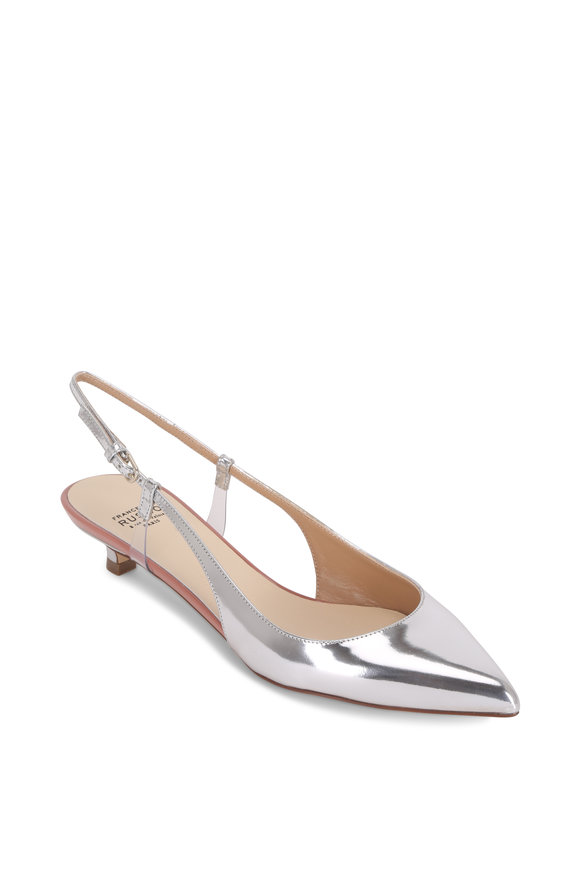 Francesco Russo  Silver Mirrored Leather & PVC Slingback, 25mm