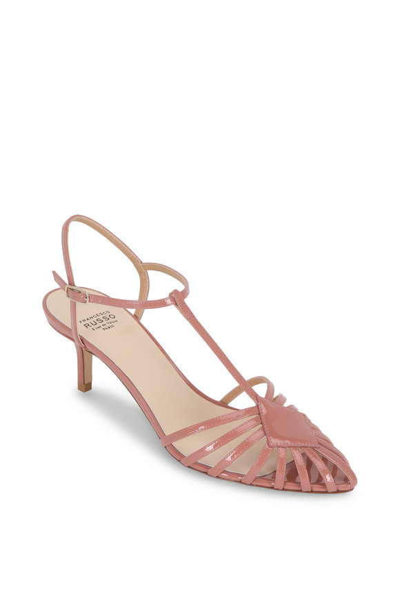Francesco Russo  Phard Patent Blush Leather T-Strap Pump, 55mm