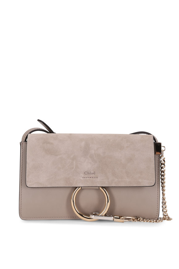Chloé Faye Motty Gray Leather & Suede Small Shoulder Bag