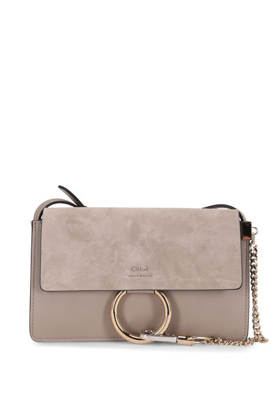 Chloé - Faye Motty Gray Leather & Suede Small Shoulder Bag