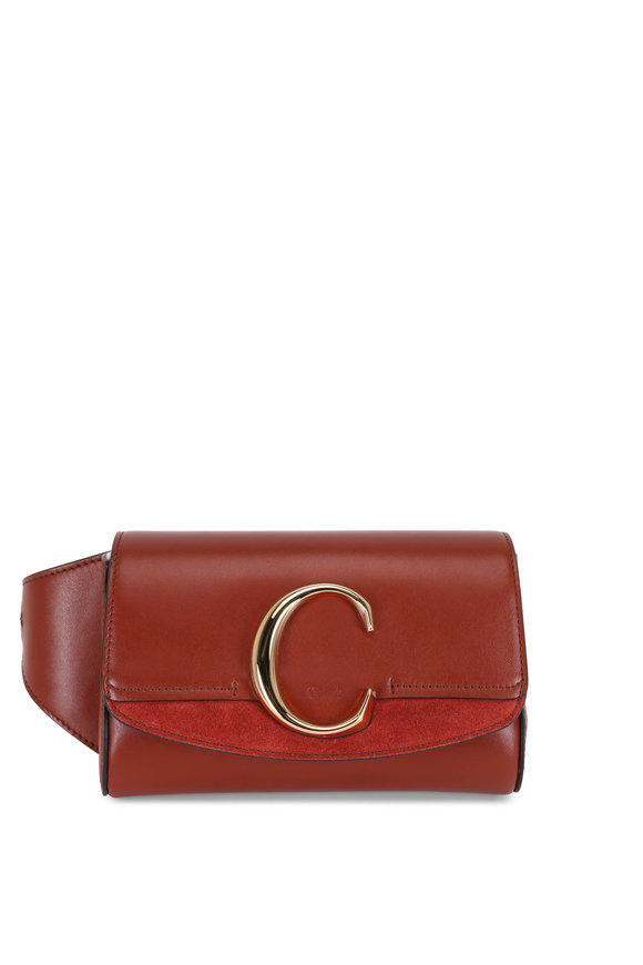 Chloé C Sepia Brown Leather & Suede Belt Bag