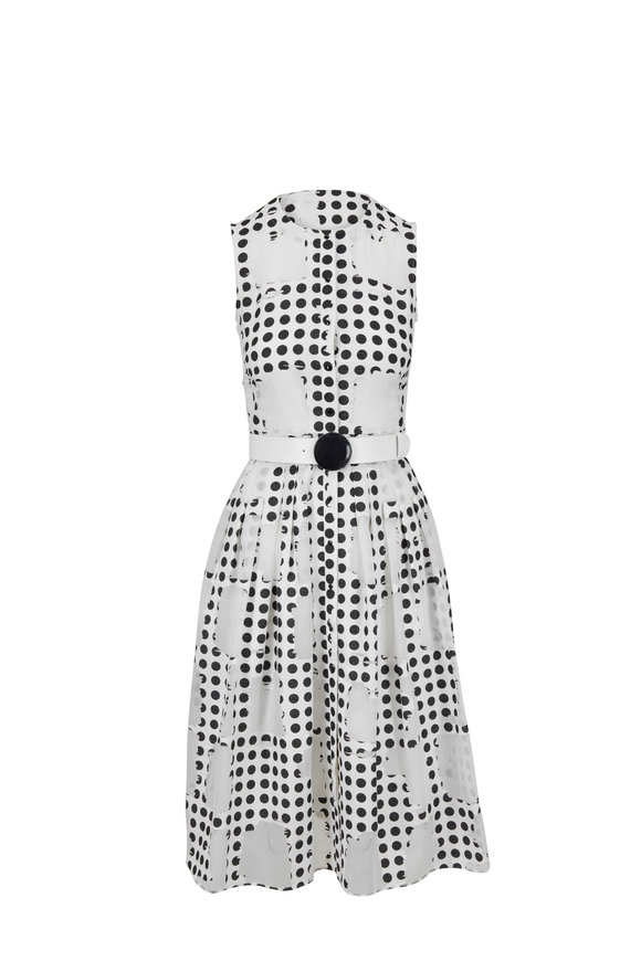Akris Punto White & Black Window Dot Belted Dress