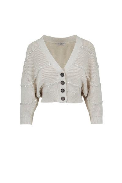 Brunello Cucinelli - Oat Textured Paillette Stripes Crop Cardigan