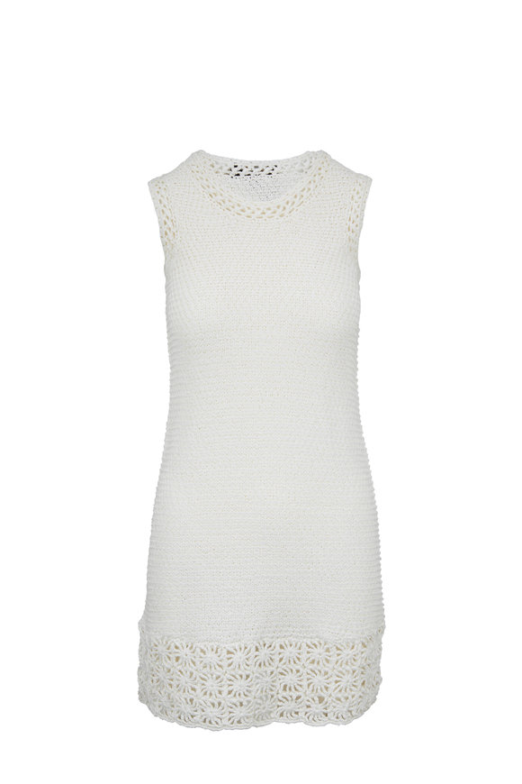 Paule Ka Off-White Crochet Knit Sleeveless Dress