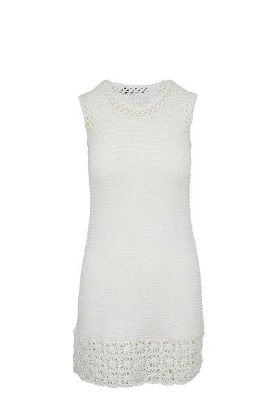 Paule Ka - Off-White Crochet Knit Sleeveless Dress