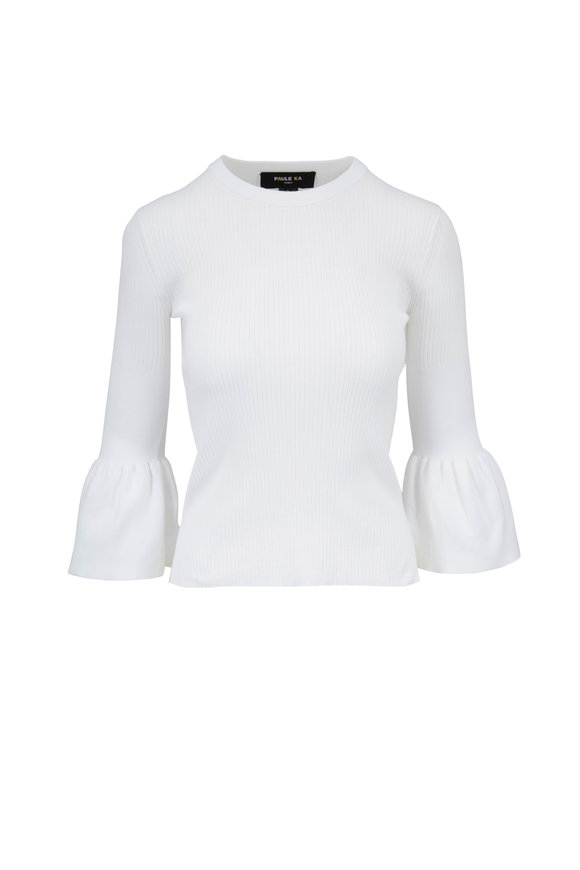 Paule Ka White Ribbed Bell Cuff Top