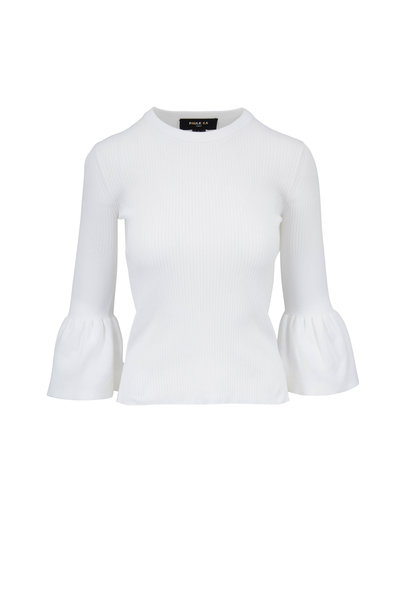 Paule Ka - White Ribbed Bell Cuff Top