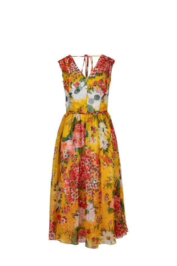 Carolina Herrera Yellow Chiffon Taxi-Cab Multi Floral Midi Dress
