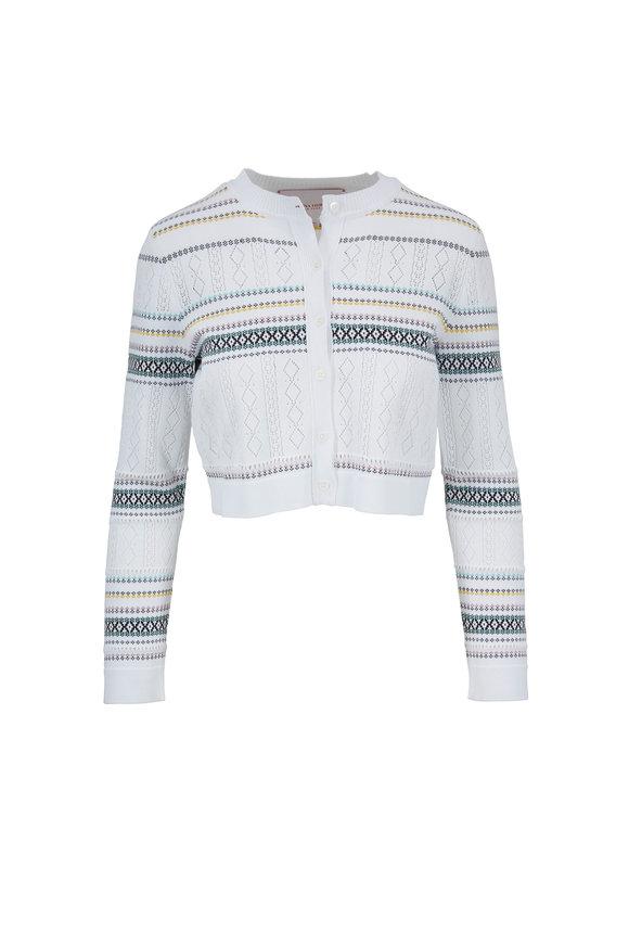 Carolina Herrera White Knit Multicolor Striped Bolero Sweater