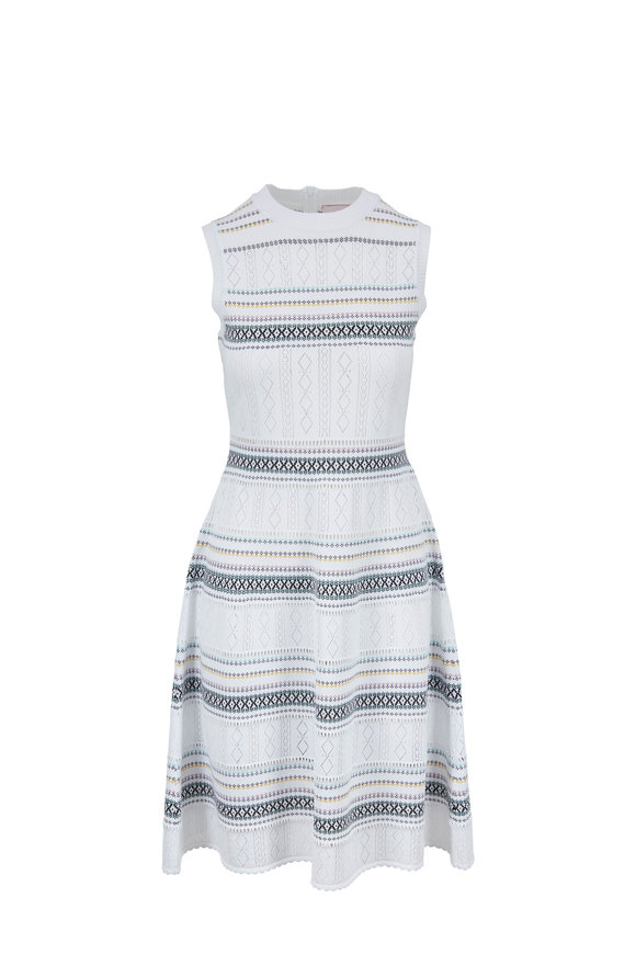 Carolina Herrera White & Multicolor Stripe Knit Sleeveless Dress
