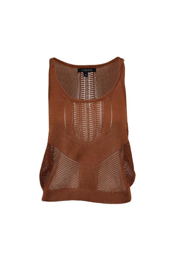 Cushnie Cola Beige Knit Twist Tank