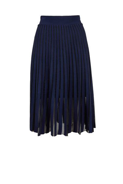 D.Exterior - Navy Blue Bi-Color Plissé Midi Skirt