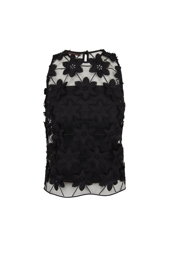 D.Exterior Black Lace Embroidered Sleeveless Blouse