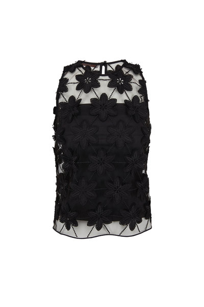 D.Exterior - Black Lace Embroidered Sleeveless Blouse