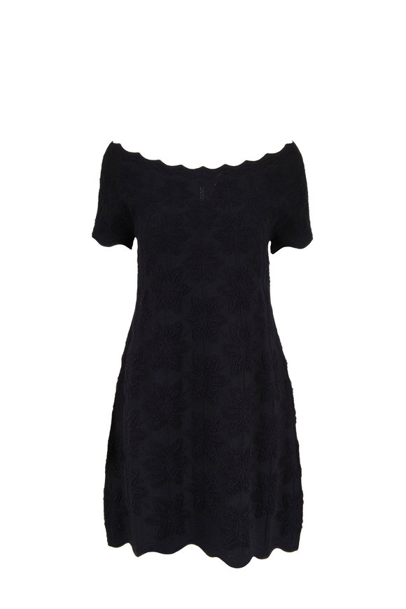D.Exterior Black Cotton Jacquard Scallop Edge Dress