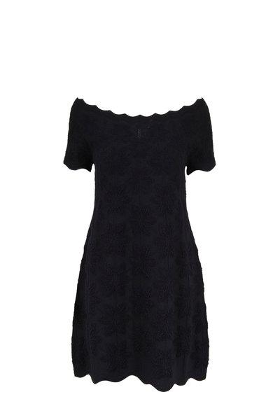 D.Exterior - Black Cotton Jacquard Scallop Edge Dress