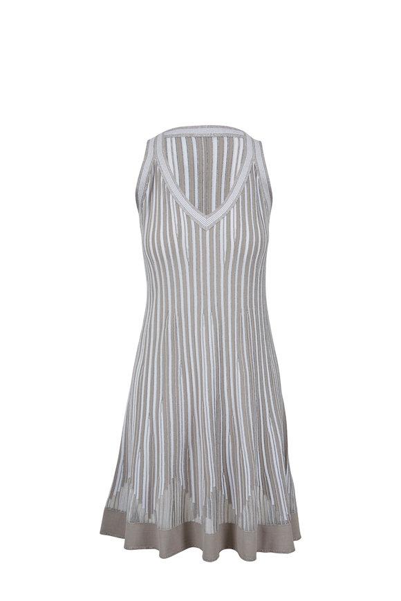 D.Exterior Gray Vertical Striped V-Neck Sleeveless Dress