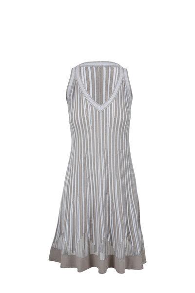 D.Exterior - Gray Vertical Striped V-Neck Sleeveless Dress