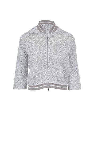 D.Exterior - White & Gray Open Knit Baseball Jacket