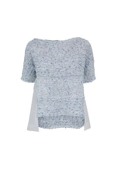 D.Exterior - Blue & White Open Knit Cotton Inset Sweater