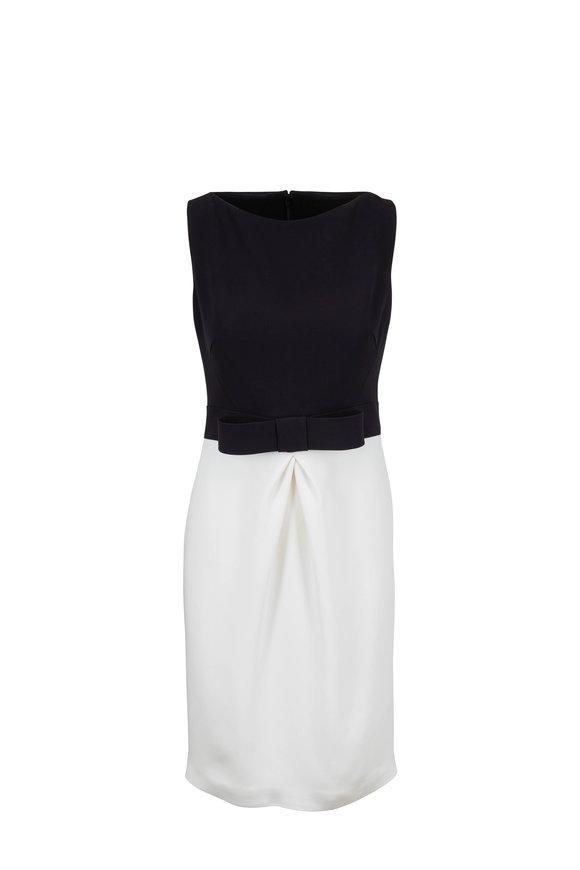 Olivine Gabbro Black & White Boat Neck Sleeveless Dress