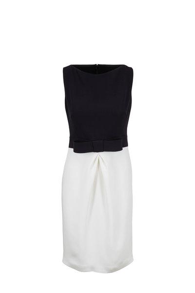 Olivine Gabbro - Black & White Boat Neck Sleeveless Dress