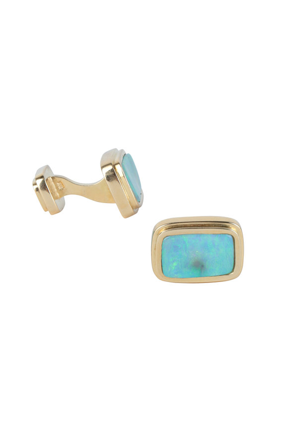 Frank Ancona 18K Yellow Gold Boulder Opal Cuff Links