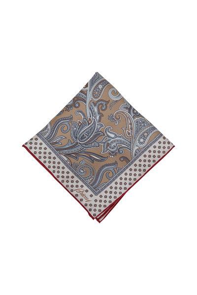 Brioni - Brown & Gray Silk Pocketsquare