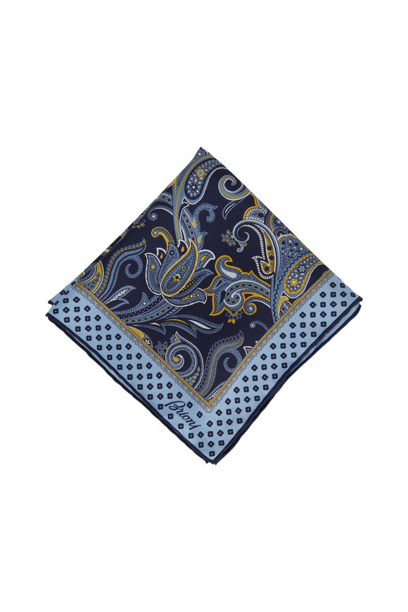 Brioni Blue & Gold Paisley Silk Pocketsquare