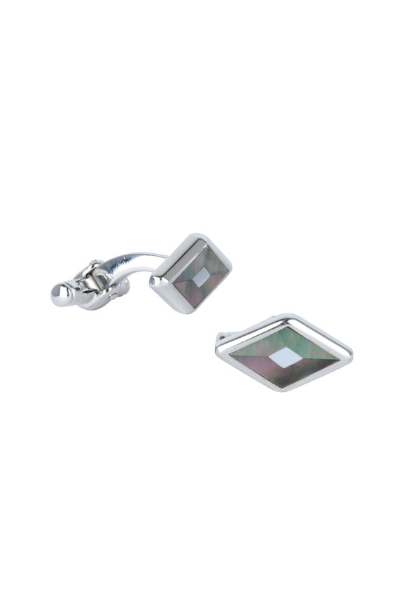 Dunhill Sterling Silver Mother of Pearl Cuff Links