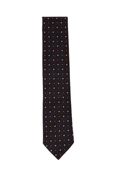 Ermenegildo Zegna - Brown Geometric Silk Necktie