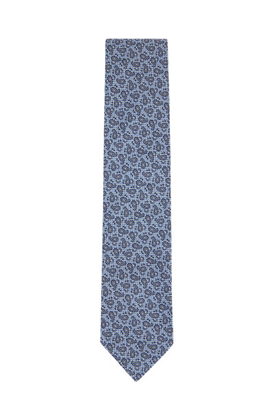 Ermenegildo Zegna - Light Blue Paisley Silk Necktie