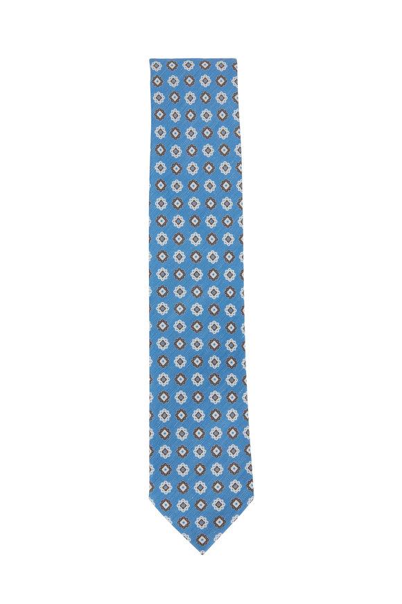 Ermenegildo Zegna Light Blue Floral Printed Silk Blend Necktie