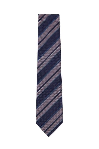 Brioni - Navy & Rose Striped Silk Necktie