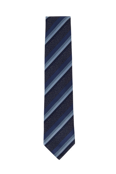 Brioni - Navy & Sky Blue Striped Silk Necktie