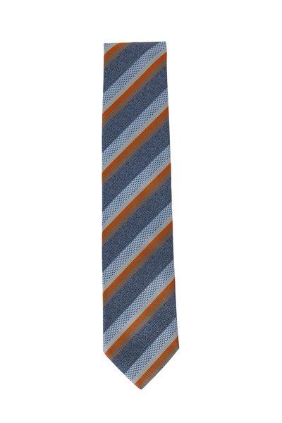 Brioni - Sky Blue & Orange Striped Silk Necktie