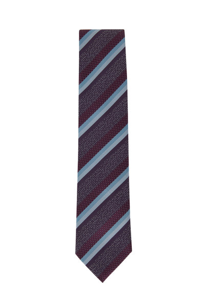 Brioni - Sky Blue Striped Silk Necktie