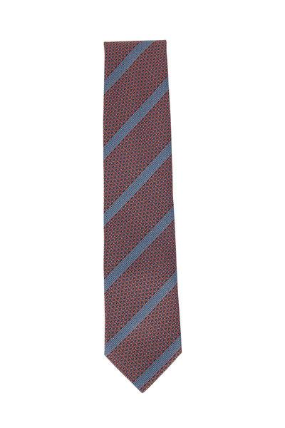 Brioni - Orange & Sky Blue Striped Silk Necktie