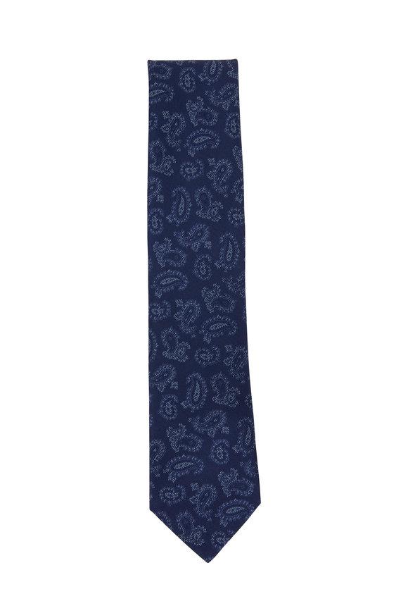 Brioni Navy Blue Paisley Silk Necktie