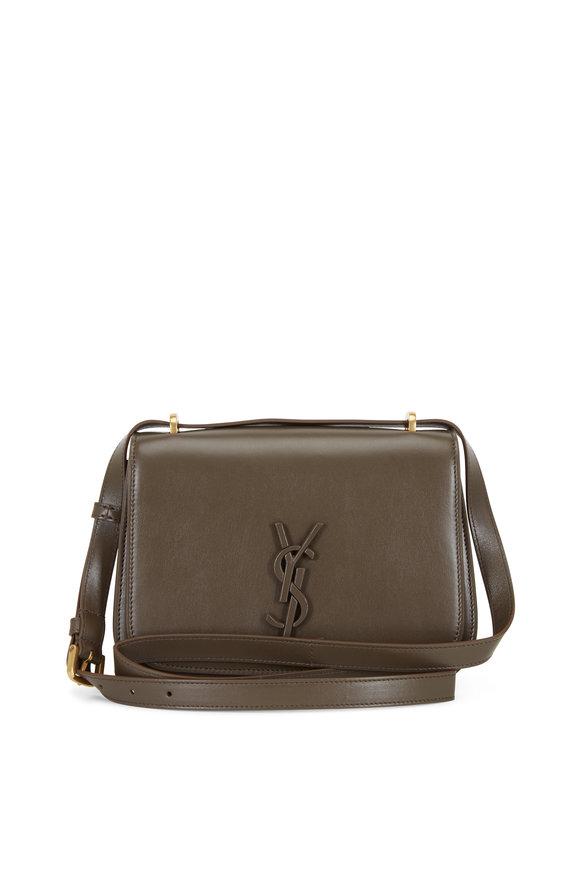 Saint Laurent Spontini Brown Leather Small Satchel