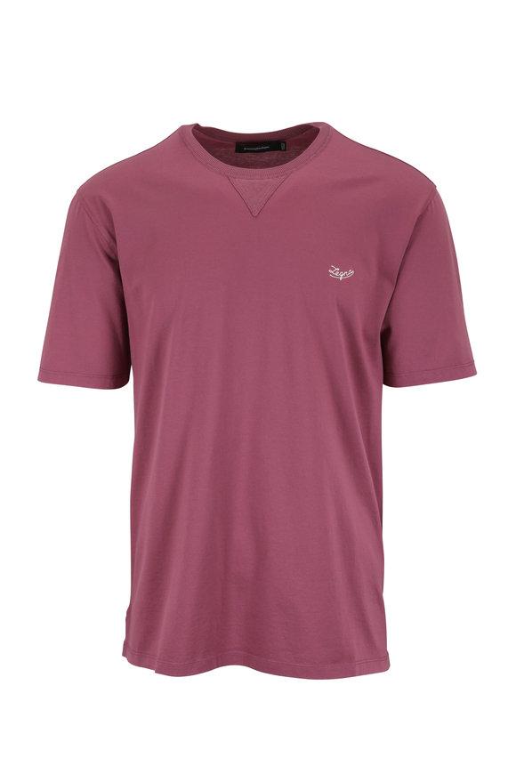 Ermenegildo Zegna Plum Crewneck Logo T-Shirt