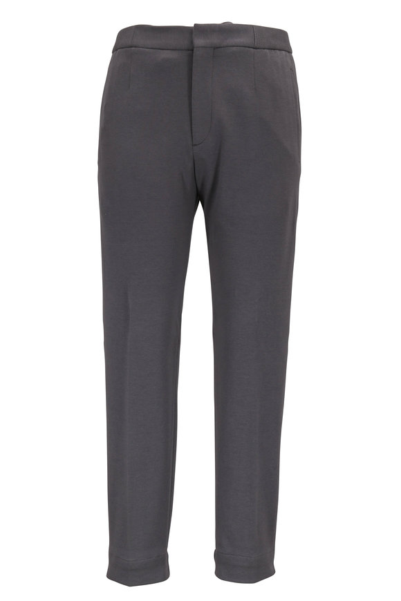 Ermenegildo Zegna Gray Cotton & Silk Front Zip Knit Jogger