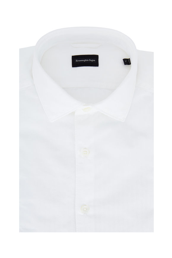 Ermenegildo Zegna White Tonal Striped Tailored Fit Sport Shirt