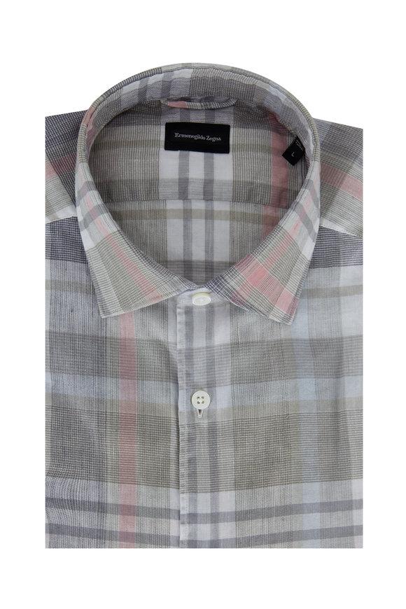 Ermenegildo Zegna Multi Plaid Linen Tailored Fit Sport Shirt