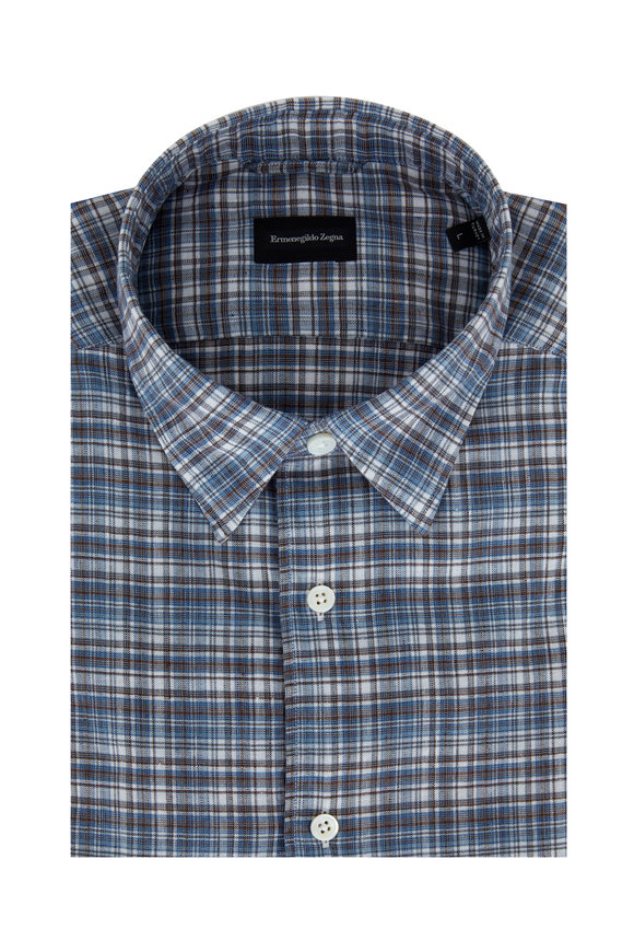 Ermenegildo Zegna Blue & Brown Linen Blend Plaid Sport Shirt