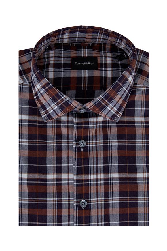 Ermenegildo Zegna Navy Blue & Brown Plaid Tailored Fit Sport Shirt